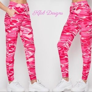 New! Pink Camo Cargo Soft Brushed Joggers
